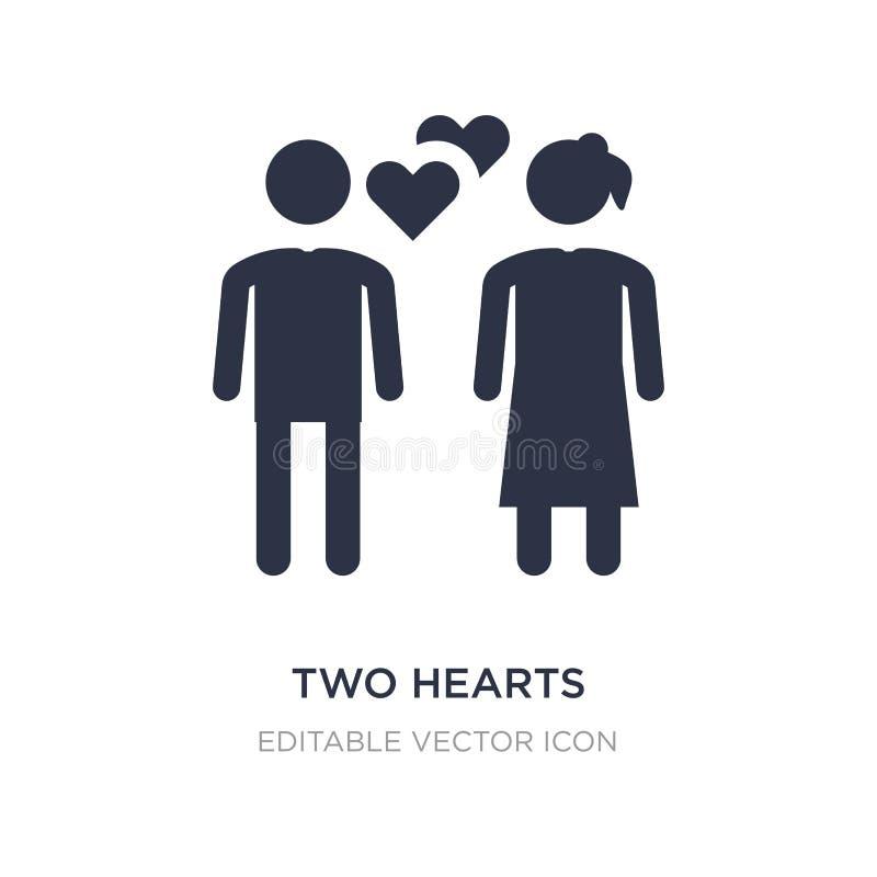 icono de dos corazones en el fondo blanco Ejemplo simple del elemento del concepto de la gente ilustración del vector