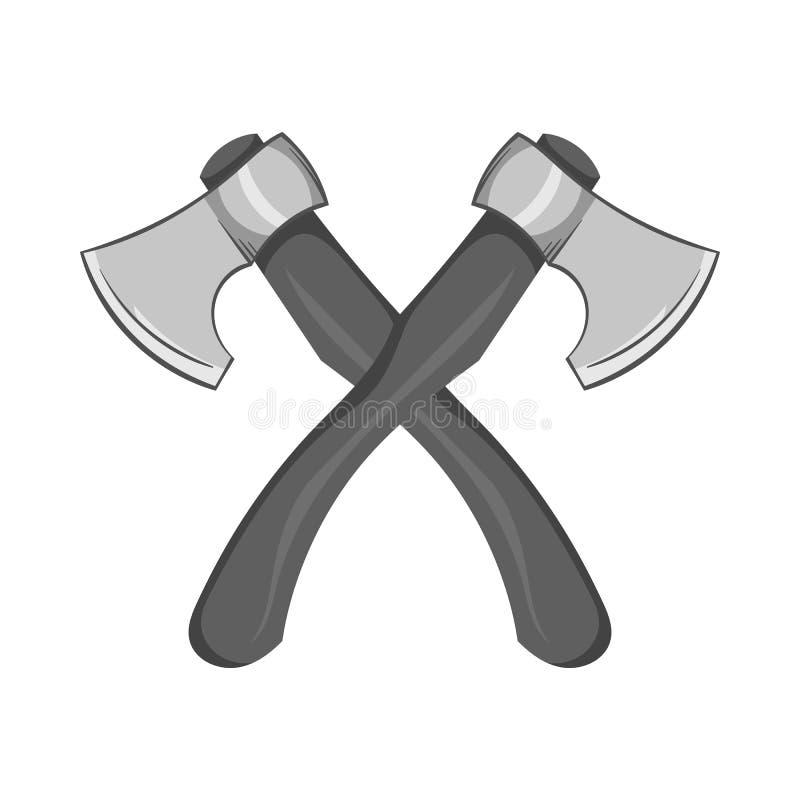 Icono de dos hachas, estilo monocromático negro stock de ilustración