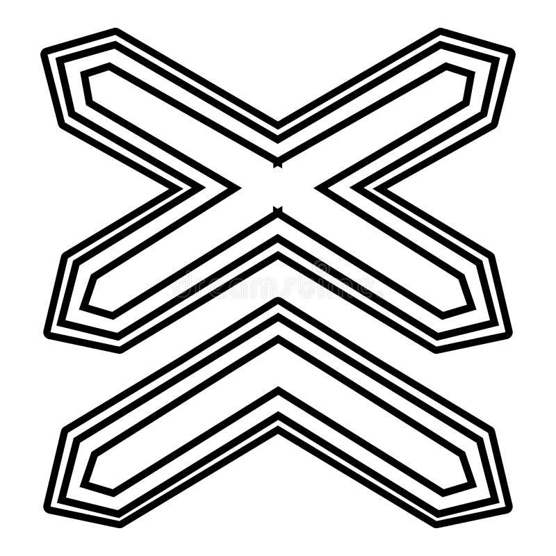 Icono de dos no ferrocarriles de la barrera, estilo del esquema libre illustration