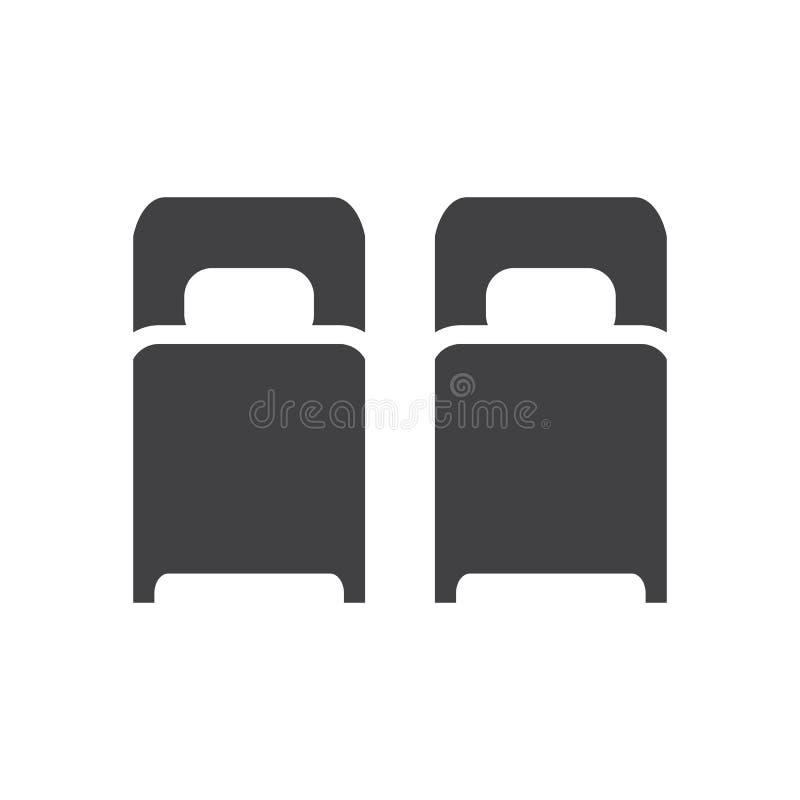 Icono de dos solas camas, muestra plana llenada, pictograma sólido del glyph libre illustration