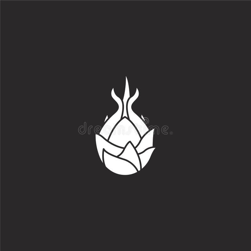 Icono de Dragon Fruit Icono llenado de la fruta del dragón para el diseño y el móvil, desarrollo de la página web del app icono d ilustración del vector