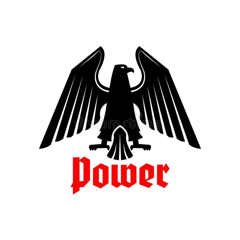 Icono de Eagle, símbolo heráldico del poder del vector del pájaro libre illustration