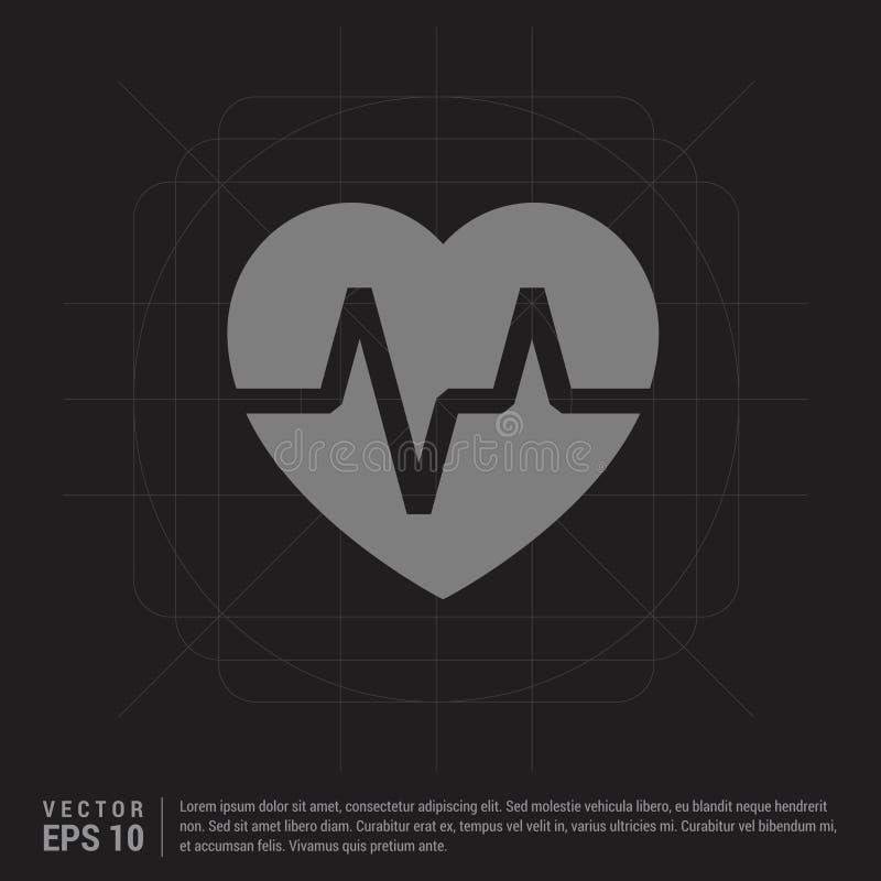 Icono de Ecg - fondo creativo negro ilustración del vector
