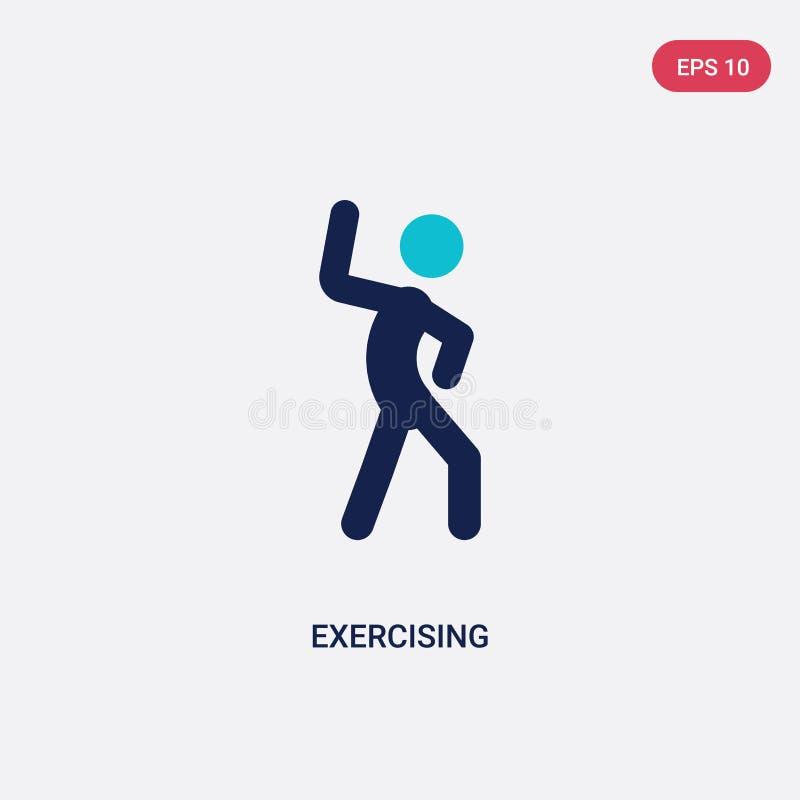icono de ejercicio bicolor del vector de la actividad y del concepto de las aficiones el símbolo de ejercicio azul aislado de la  stock de ilustración