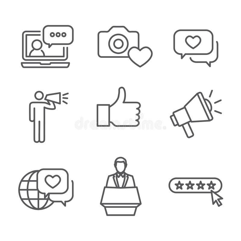 Icono de embajador Thin Line Outline de la marca fijado con el megáfono, libre illustration