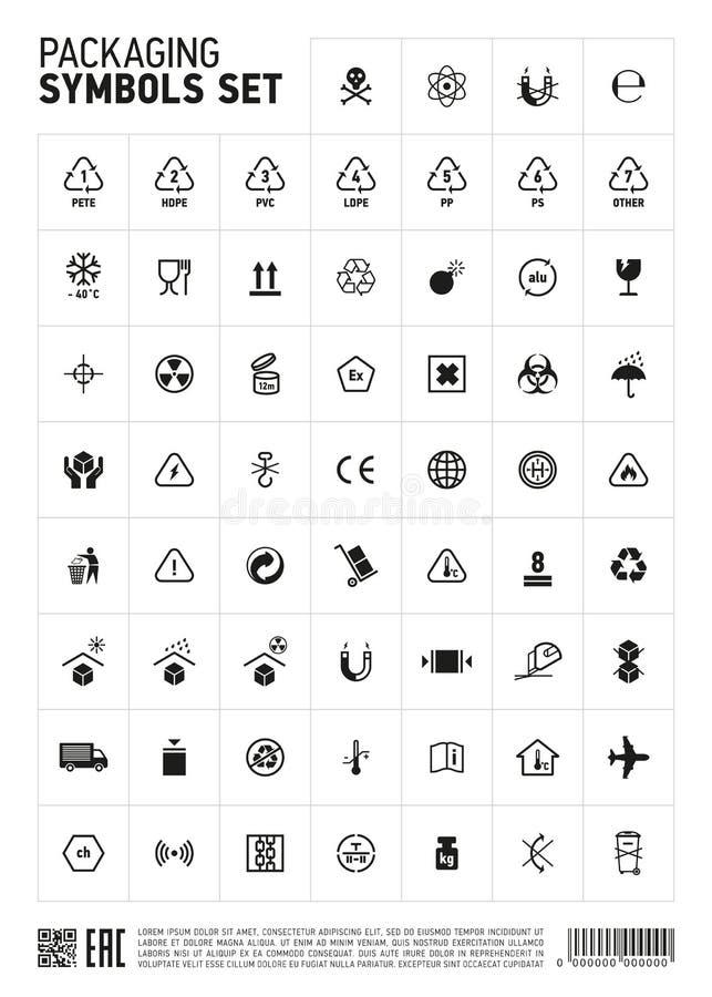 Icono de empaquetado del sistema de símbolos stock de ilustración