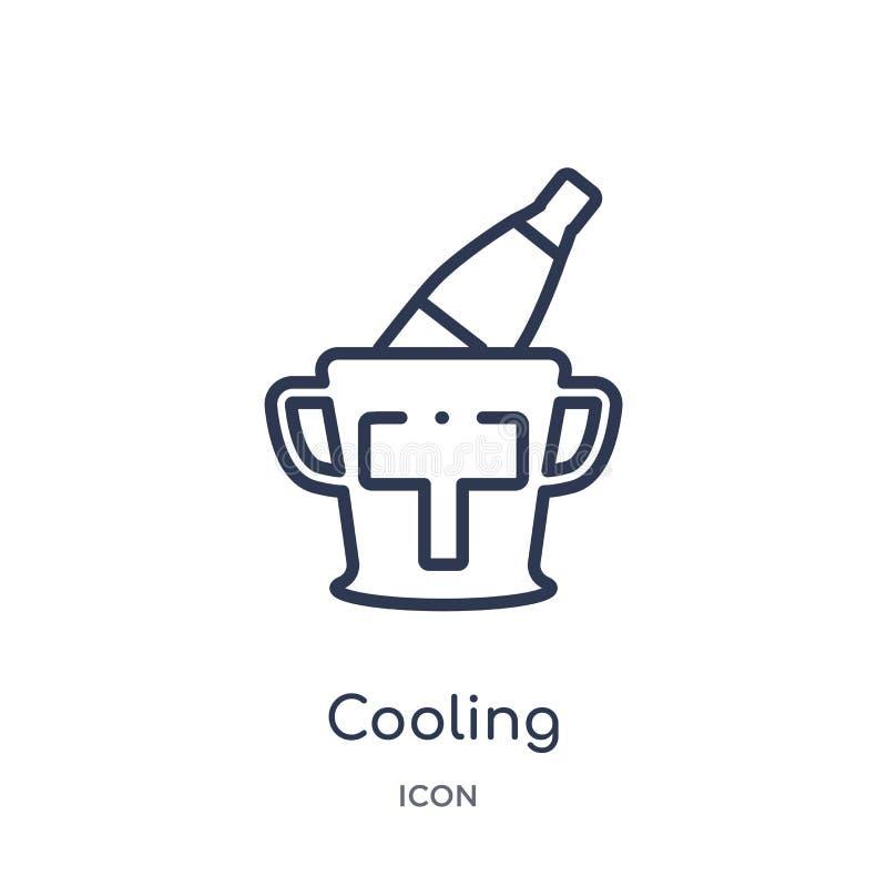 Icono de enfriamiento linear de la colección del esquema del alcohol Línea fina vector de enfriamiento aislado en el fondo blanco ilustración del vector