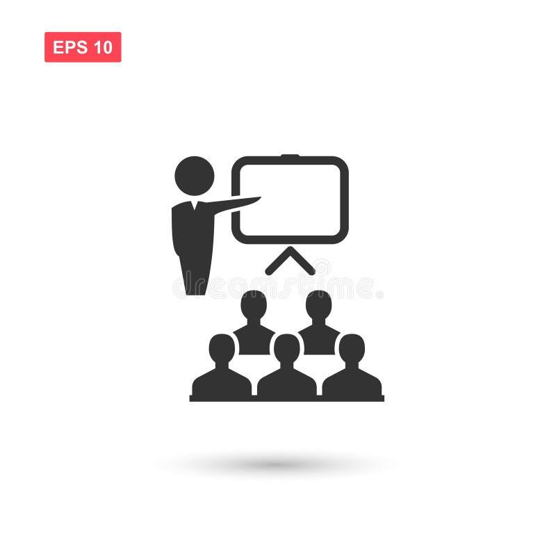Icono de entrenamiento del vector con la audiencia y el líder aislados stock de ilustración
