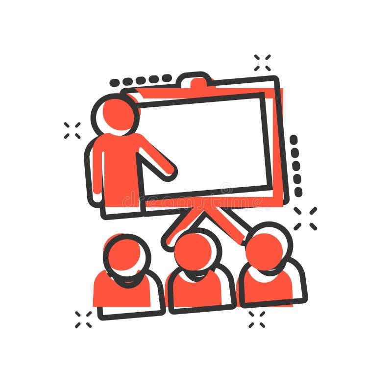 Icono de entrenamiento de la educación en estilo cómico Pictograma del ejemplo de la historieta del vector del seminario de la ge ilustración del vector