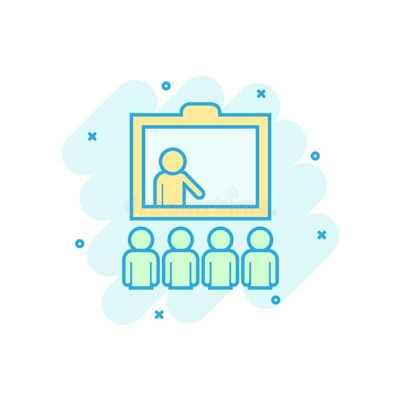 Icono de entrenamiento de la educación en estilo cómico Pictograma del ejemplo de la historieta del vector del seminario de la ge libre illustration
