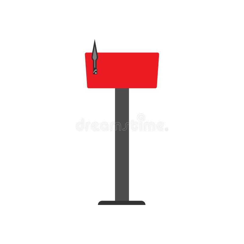Icono de envío del vector del poste de la comunicación roja del símbolo del buzón Entregue el cargo para recibir la caja de letra ilustración del vector
