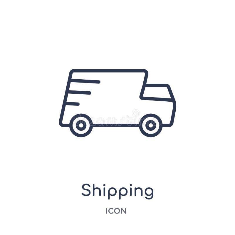 Icono de envío linear de la entrega y de la colección logística del esquema Línea fina vector de envío aislado en el fondo blanco libre illustration