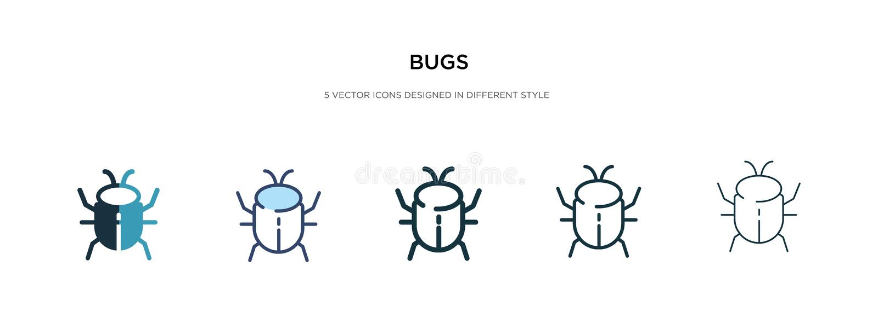 Icono de errores en ilustración vectorial de estilo diferente dos iconos vectoriales de bugs de color y negro diseñados en rellen libre illustration