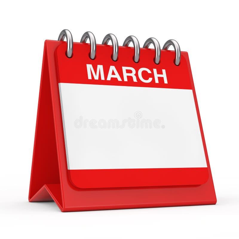Icono de escritorio rojo del calendario que muestra una p?gina del mes de marzo representaci?n 3d stock de ilustración