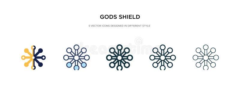 Icono de escudo de dioses en ilustración vectorial de estilo diferente dos dioses de color y negro protegen los iconos vectoriale ilustración del vector