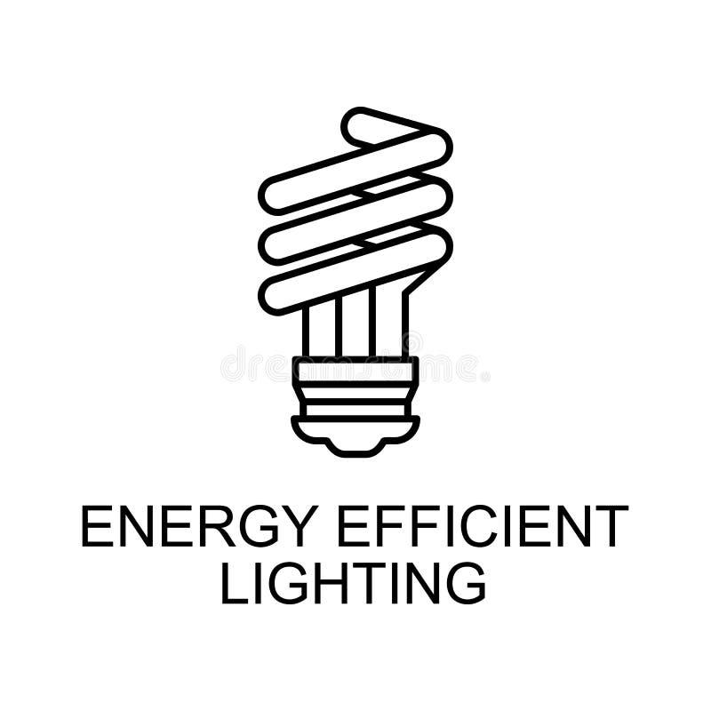 icono de esquema de iluminación de uso eficiente de la energía Elemento de icono de protección del medio ambiente con nombre para stock de ilustración