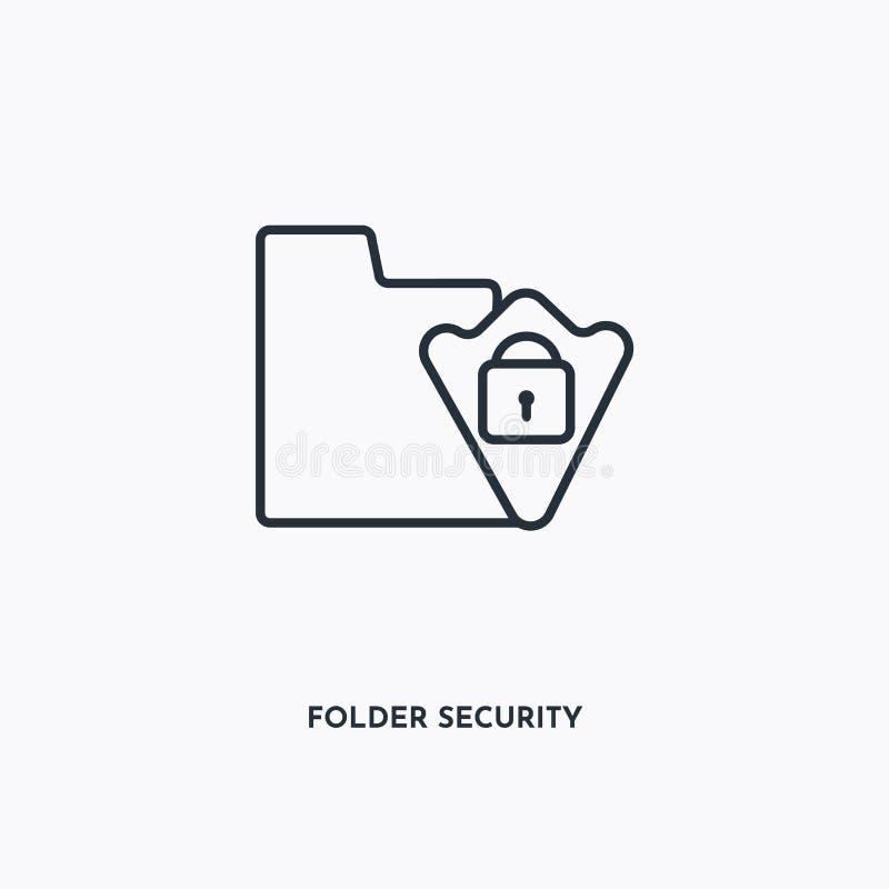 Icono de esquema de seguridad de carpeta Ilustración lineal simple de elementos Icono de seguridad de carpeta de línea aislada en libre illustration