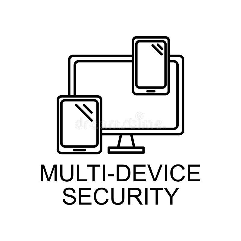 icono de esquema de seguridad de varios dispositivos Elemento de icono de protección de datos con nombre para concepto móvil y ap ilustración del vector