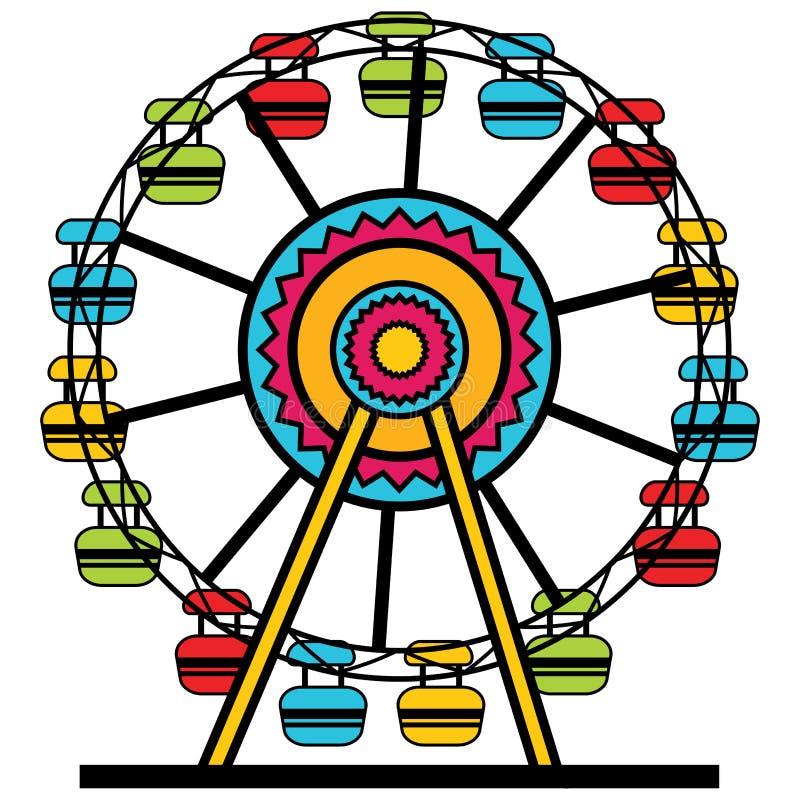 Icono de Ferris Wheel Amusement Park Cartoon stock de ilustración