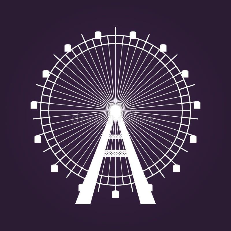 Icono de Ferris Wheel en fondo violeta oscuro ilustración del vector
