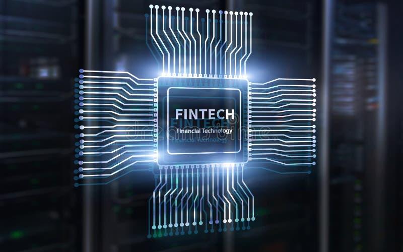 Icono de Fintech en fondo financiero abstracto de la tecnolog?a Icono de la CPU en fondo borroso centro de datos del sitio del se ilustración del vector