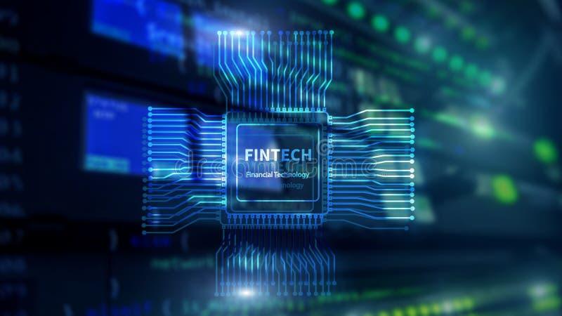 Icono de Fintech en fondo financiero abstracto de la tecnolog?a Icono de la CPU en fondo borroso centro de datos del sitio del se stock de ilustración