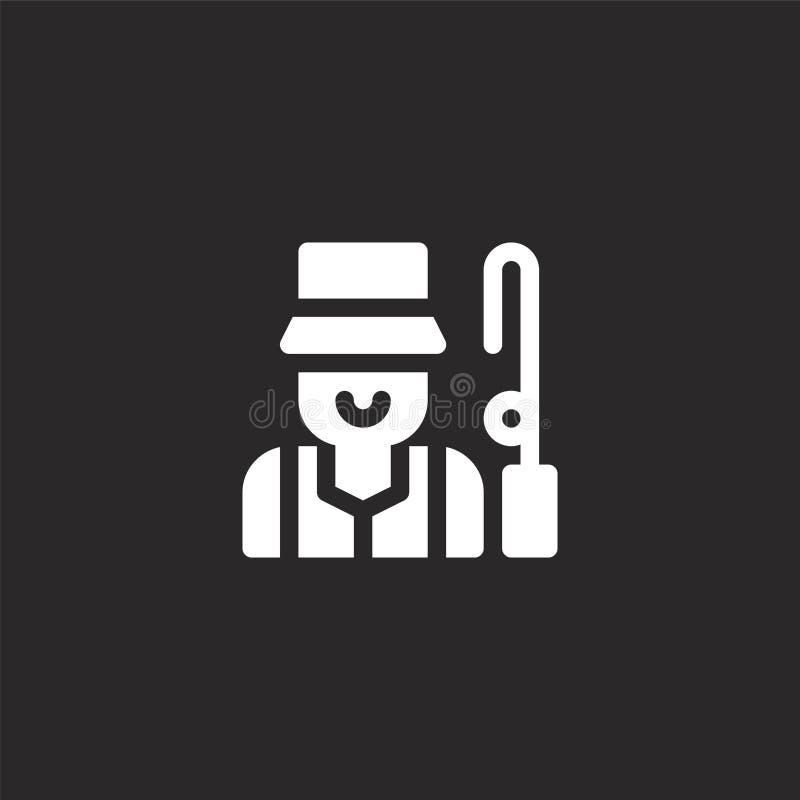 Icono de Fisher Icono llenado del pescador para el diseño y el móvil, desarrollo de la página web del app icono del pescador de l stock de ilustración