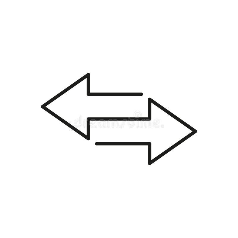 Icono de flechas de intercambio aislado Elemento de transferencia financiera Diseño lineal stock de ilustración
