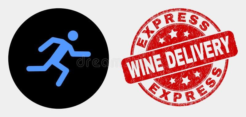Icono de funcionamiento del hombre del vector y sello expreso rasguñado de la entrega del vino libre illustration