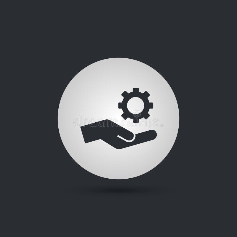 Icono de Gear Service Hand del mecánico stock de ilustración