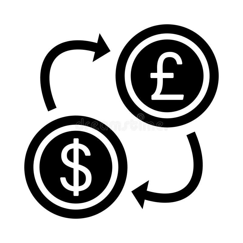 Icono de Glifo de intercambio de dólares aislado Gráfico. Estilo en el concepto de negocio y oficina de elementos sencillos de g ilustración del vector