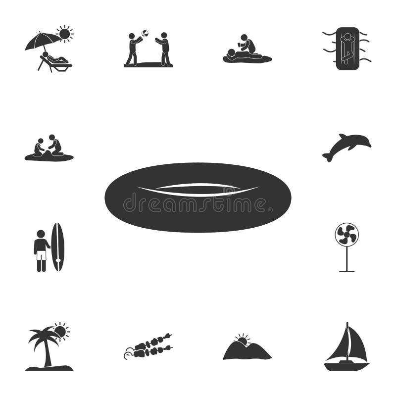 Icono de goma del bote Sistema detallado de ejemplos del verano Icono superior del diseño gráfico de la calidad Uno de los iconos ilustración del vector