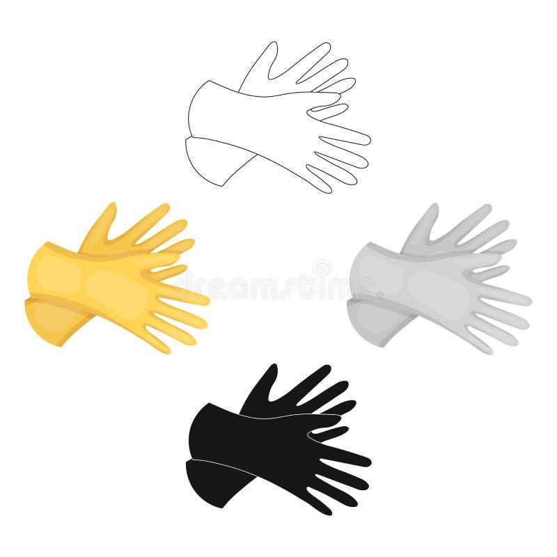 Icono de goma de los guantes en estilo de la historieta aislado en el fondo blanco Ejemplo del vector de la acción del símbolo de ilustración del vector