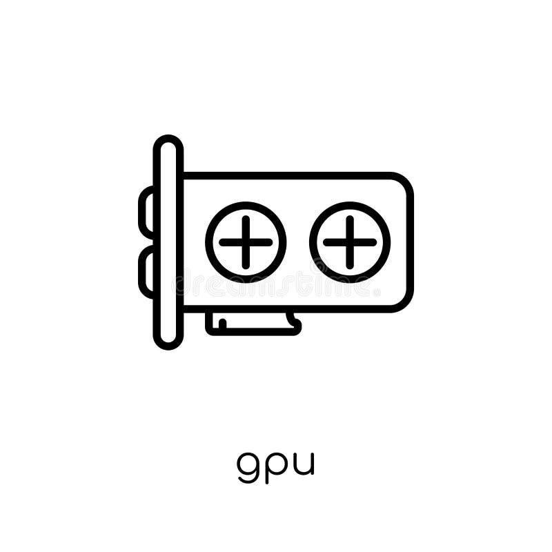 Icono de Gpu Icono linear plano moderno de moda de Gpu del vector en el CCB blanco stock de ilustración