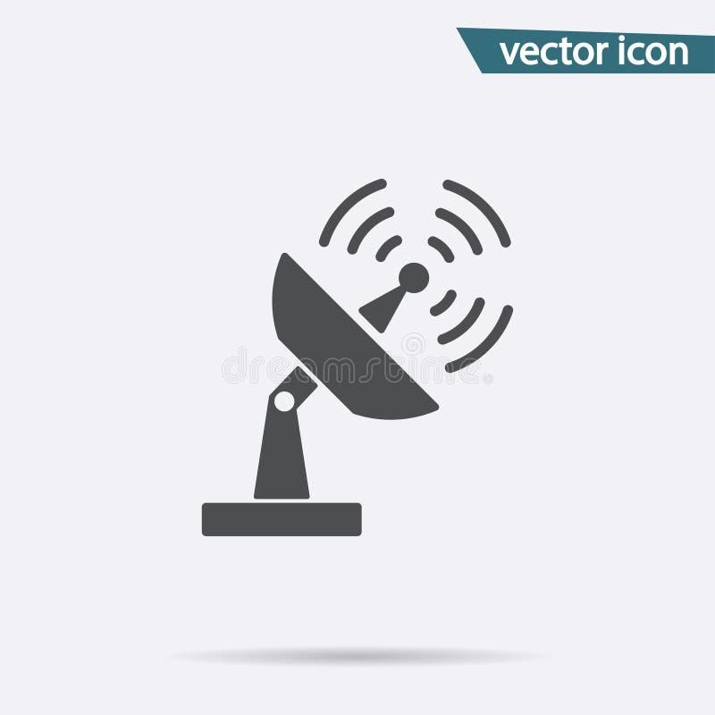 Icono de Gray Antenna aislado en fondo Pictograma plano moderno, negocio, márketing, conce de Internet stock de ilustración