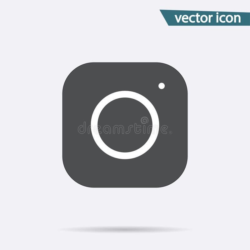 Icono de Gray Camera aislado en fondo Muestra inmediata plana simple moderna Conce de Internet de la fotografía ilustración del vector