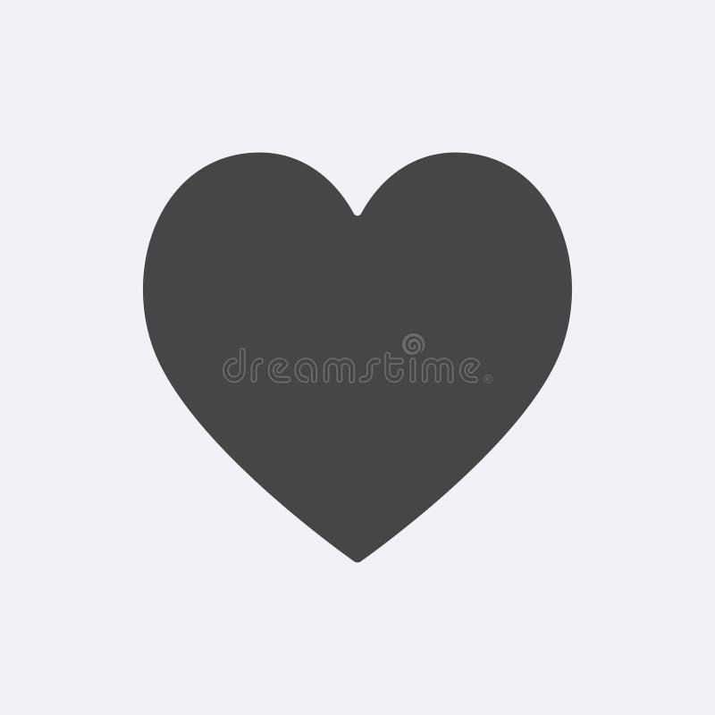 Icono de Gray Heart aislado en fondo Pictograma plano moderno, concepto de Internet Vect simple de moda stock de ilustración