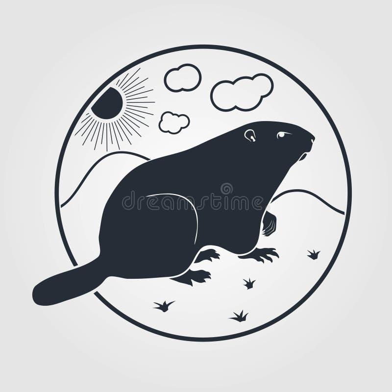 Icono de Groundhog en un fondo blanco Ilustración del vector stock de ilustración
