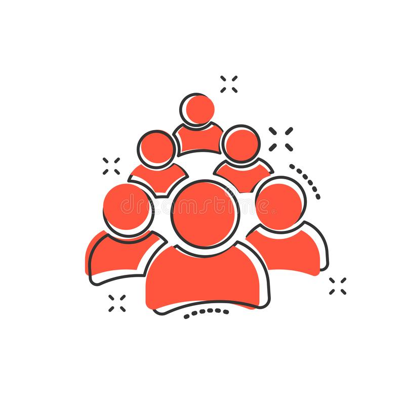 Icono de grupo de personas de la historieta del vector en estilo cómico Muestra de las personas stock de ilustración