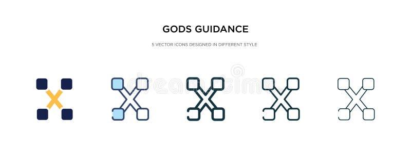 Icono de guía de dioses en ilustración vectorial de estilo diferente dos iconos vectoriales de orientación de dioses negros y col ilustración del vector