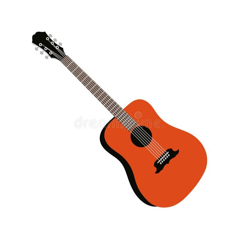 Icono de guitarra, signo de instrumento musical acústico Aislado sobre fondo blanco Estilo plano moderno para diseño gráfico, log libre illustration