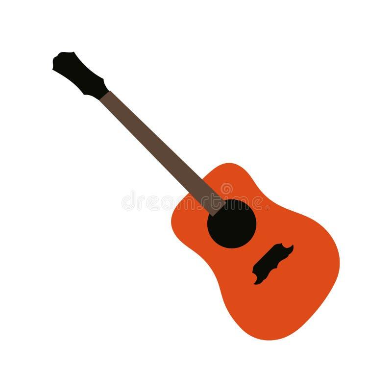 Icono de guitarra, signo de instrumento musical acústico Aislado sobre fondo blanco Estilo plano moderno para diseño gráfico, log ilustración del vector
