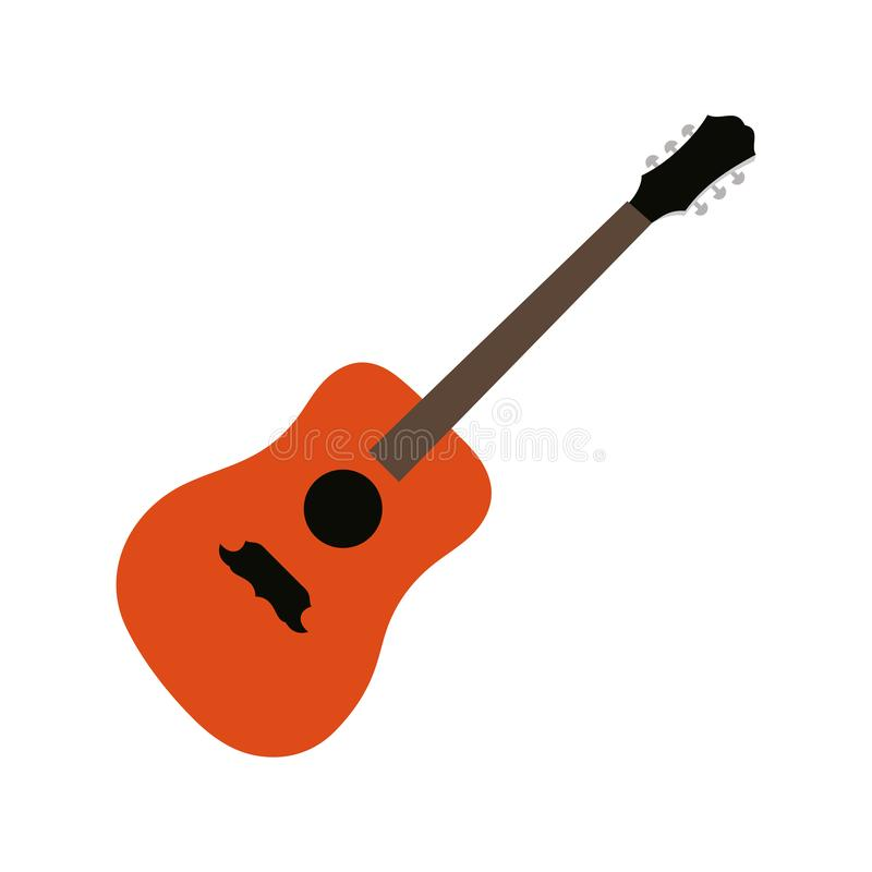 Icono de guitarra, signo de instrumento musical acústico Aislado sobre fondo blanco Estilo plano moderno para diseño gráfico, log stock de ilustración