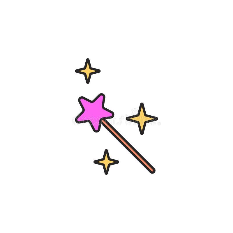 icono de hadas de la vara Elemento del icono mágico para los apps móviles del concepto y de la web El icono de hadas de la vara d ilustración del vector
