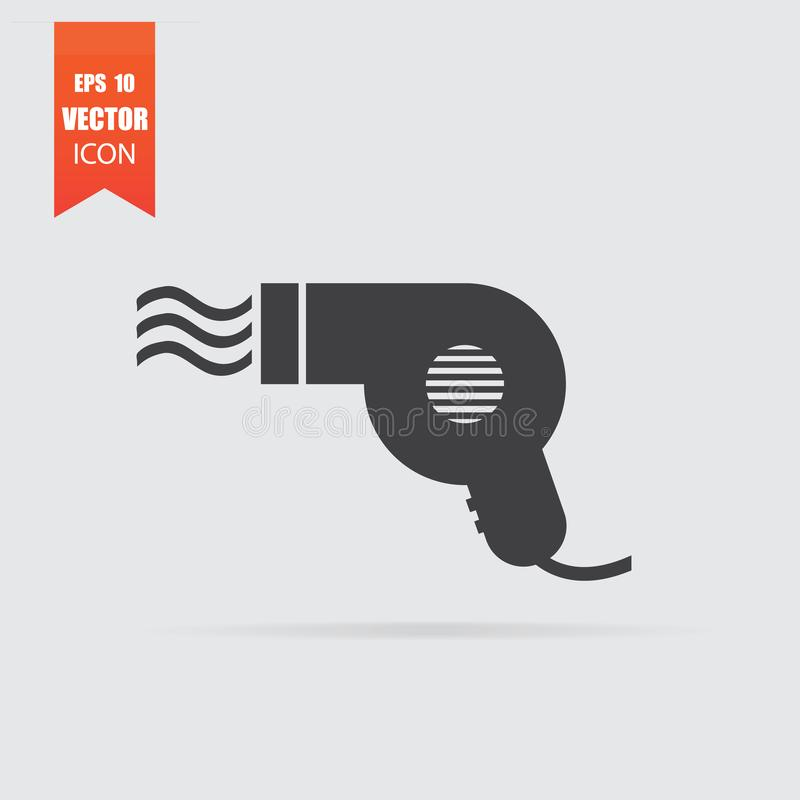 Icono de Hairdryer en estilo plano aislado en fondo gris libre illustration