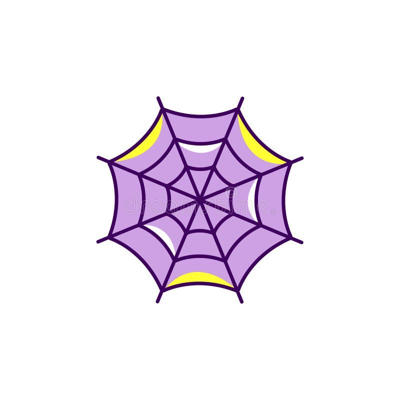 Icono de Halloween del web de araña Icono plano colorido de la telaraña, símbolo de Spiderweb Línea fina diseño del arte, ejemplo libre illustration