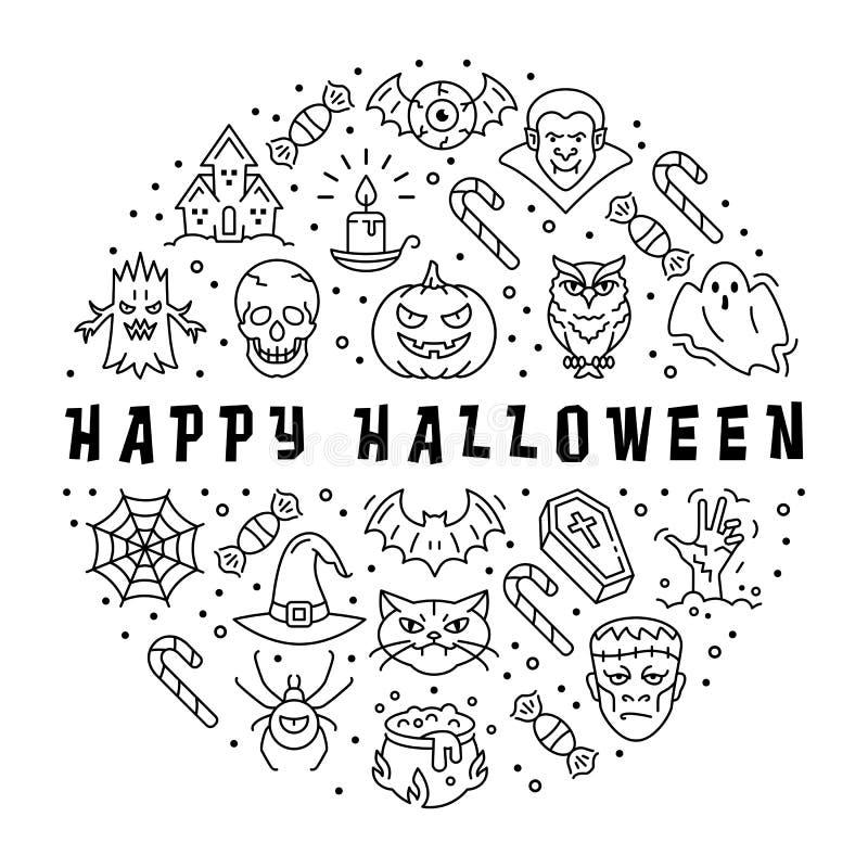 Icono de Halloween, tarjeta del feliz Halloween El círculo infographic, Vector diseño plano ilustración del vector