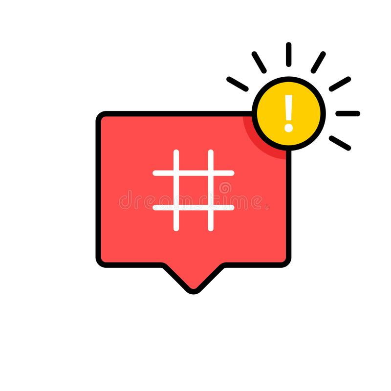 Icono de Hashtag Símbolo de Hashtag Medios icono social Ilustración del vector stock de ilustración