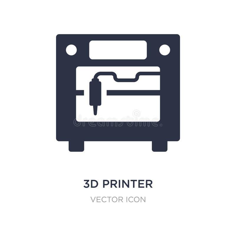 icono de impresora 3d en el fondo blanco Ejemplo simple del elemento del concepto futuro de la tecnología ilustración del vector