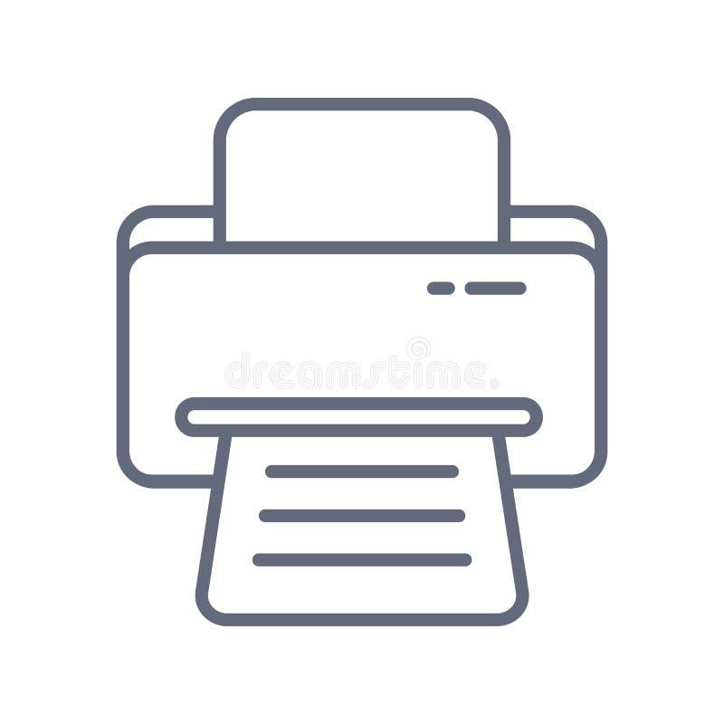Icono de impresora, ejemplo del vector Estilo plano del dise?o ejemplo del icono de impresora del vector aislado en el fondo blan stock de ilustración